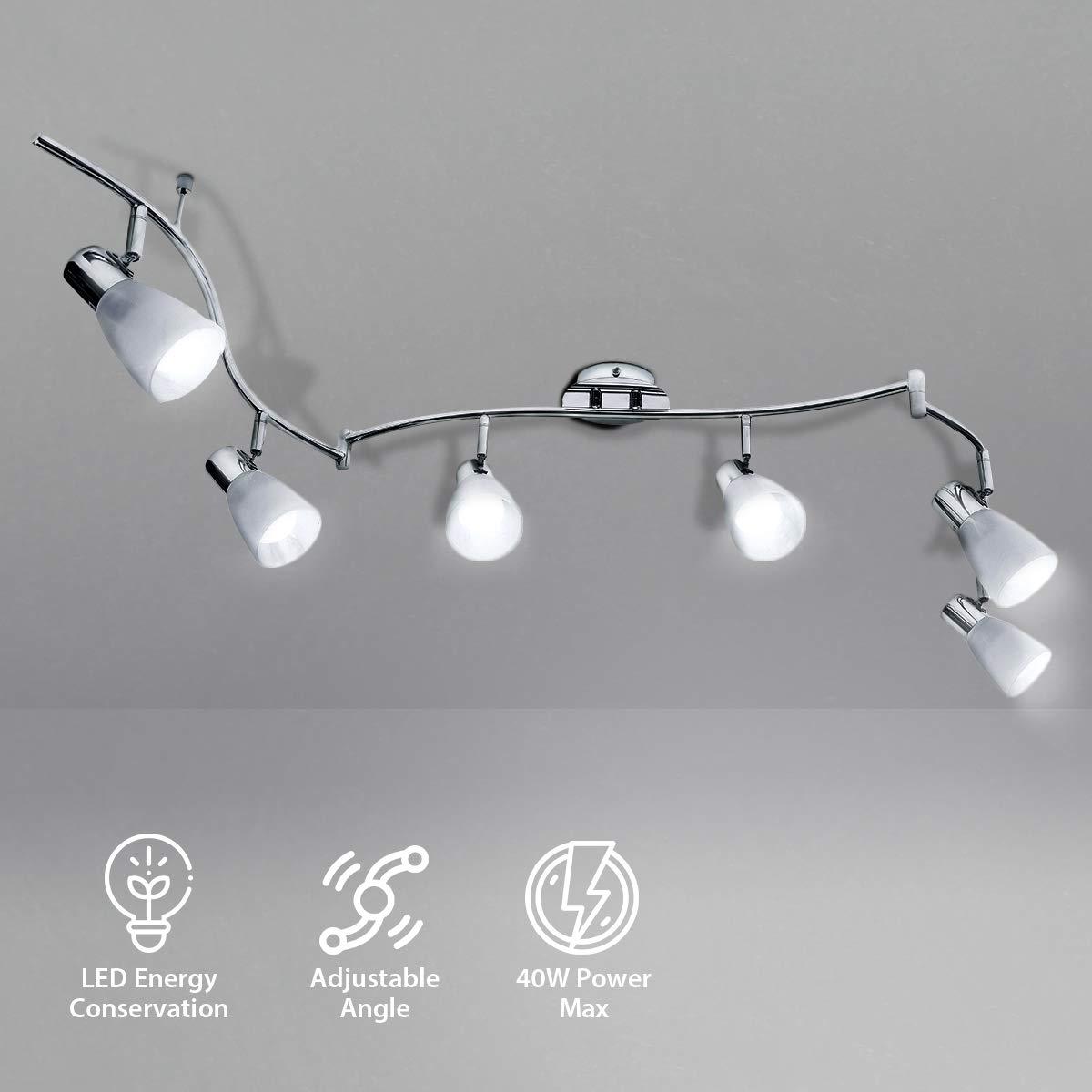 KINGSO LED Deckenleuchte 6 flammig Deckenstrahler E14 bewegliche Decken Spots schwenkbar Deckenlampe modern 85-265V für Esszimmer, Wohnzimmer,Schlafzimmer, Küche (Ohne Leuchtmittel)