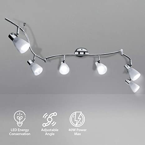KINGSO LED Deckenleuchte 6 flammig E14 led Deckenstrahler beweglich  deckenlampe küche schwenkbar lampe 6 flammig dimmbar 85-265V für Esszimmer,  ...