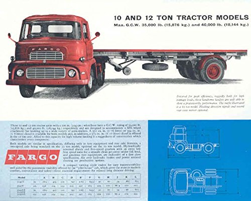 Amazon com: 1961 Fargo 12Ton Tractor Trailer Truck Brochure