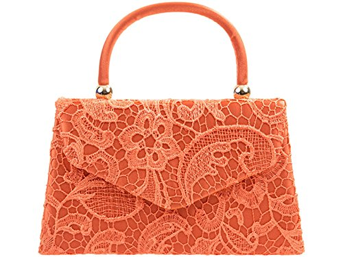 Evening Party Handbag Clutch Tote Bag Shoulder fi9® BNWT Retro Bridal Coral Lace Floral Purse Wedding Hand Aq0zqwUx