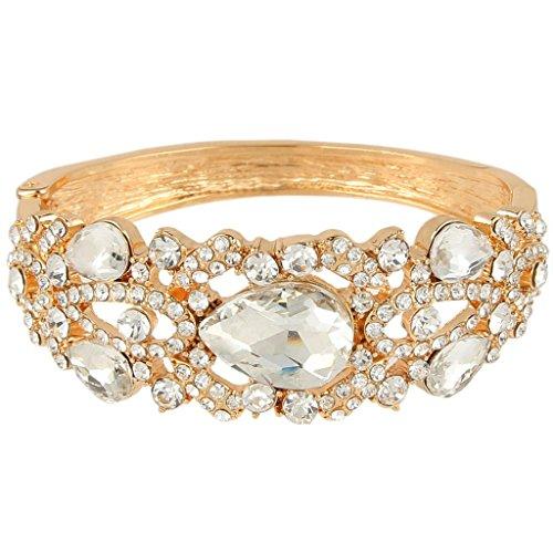 EVER FAITH Rhinestone Crystal Wedding Graceful Tear Drop Bangle Bracelet Clear Gold-Tone ()