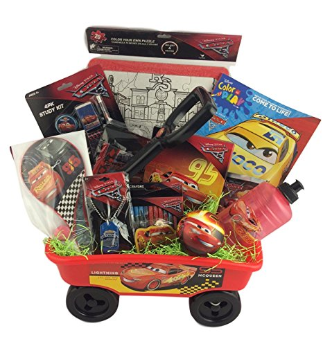 Deluxe Cars Lightning McQueen Christmas Gift Baskets Wagon For Kids Ideal for Boys 5 To 7 Years Old