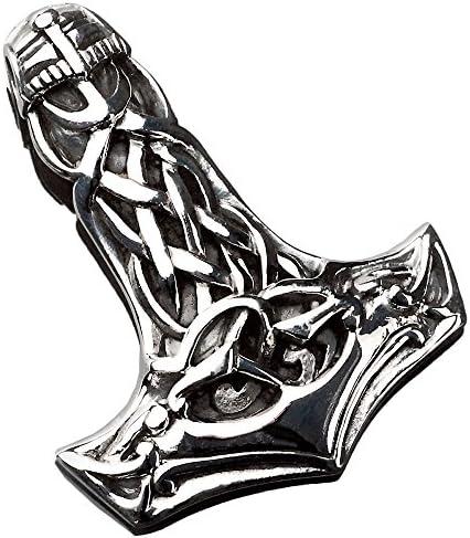 viva-adorno Herren Anhänger Thorshammer Mjölnir keltisch Thors Hammer 925 Sterlingsilber AS3