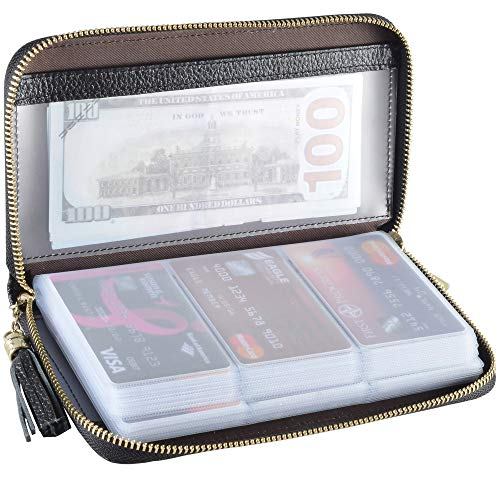 Easyoulife Credit Card Holder Wallet Womens Zipper Leather Case Purse RFID Blocking (Black) ()