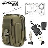 Adventure Lovers Premium Gift Set - Outdoor Wallet, 20-in-1 Credit Card Tool Knife, 4-in-1 Flashlight Pen Presentation Pointer - Stocking Stuffer (Green/White)