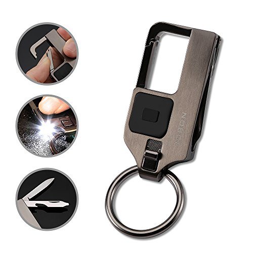 4 in 1 Multitool Keychain Flashlight, Jobon Zinc Alloy Key Chain with LED Light, Knife, Bottle Opener and 2 Key Rings (Gray)
