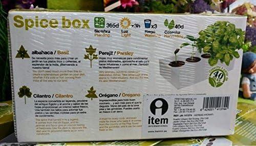 Spice Box.- Kit de cultivo interior, 4 especias: Albahaca, perejil ...
