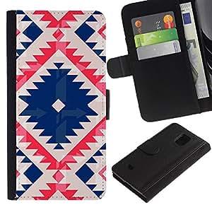 Billetera de Cuero Caso Titular de la tarjeta Carcasa Funda para Samsung Galaxy S5 Mini, SM-G800, NOT S5 REGULAR! / Native Tribal Pattern Quilted Blue / STRONG
