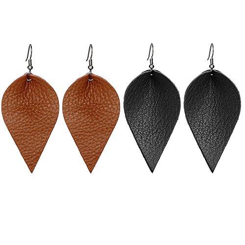 Leather Dangle (Genuine Leather Leaf Clover Earrings Hollow Teardrop Petal 4 Leaves Shaped Drop Bohemian Earrings For Women)