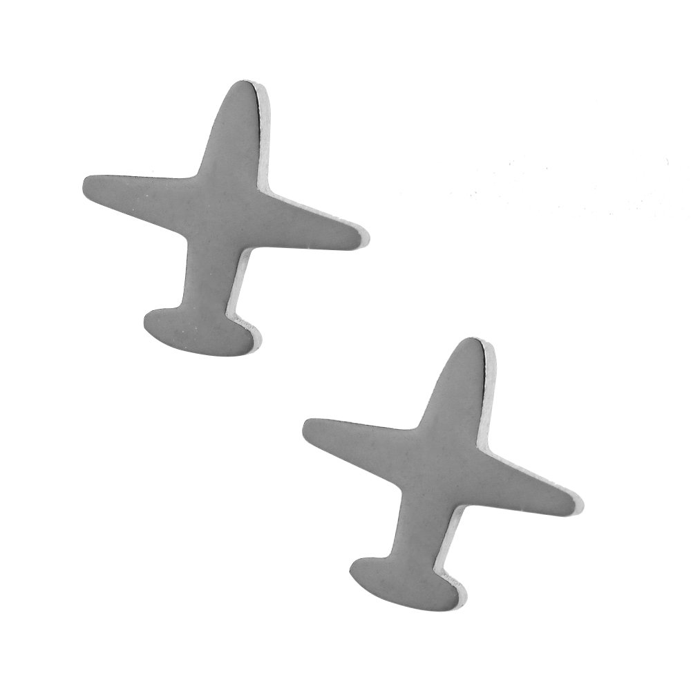 Women Plane Earrings.Tiny Silver Tone Stainless Steel Gift Box Cute Travel Symbol Charm Studs Jewelry
