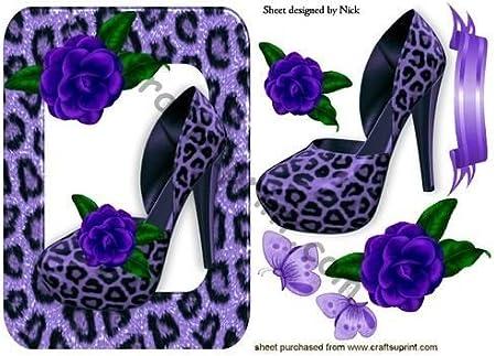 Purple Leopard Print Shoe and Frame