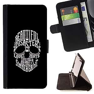 Momo Phone Case / Flip Funda de Cuero Case Cover - Hermosa Sinner San Dualidad cráneo - Sony Xperia M2