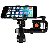 Bike Phone Mount, Airsspu Universal Cell Phone Bicycle Rack Handlebar Flashlight Holder for iPhone 6 6 Plus 6S 6S plus 5S 5C, Samsung Galaxy S3 S4 S5 S6 S7 Note 3/4/5,Nexus,HTC,LG,BlackBerry (Black)