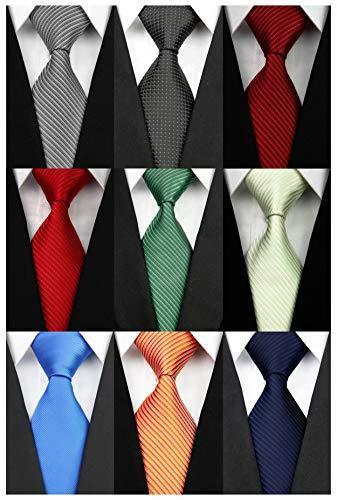 (Wehug Lot 9 PCS Classic Men's tie 100% Silk Tie Woven Jacquard Neckties Solid Ties for men style001 )