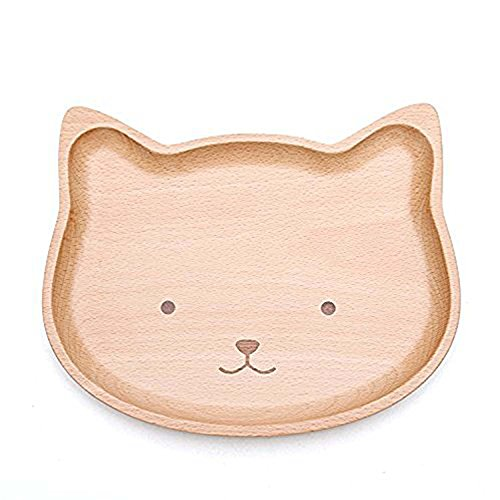 GOHIDE Wooden Baby Plates,Natural Wood Tray,Beech Wood Dish,Carton Kid's Dinner Tray