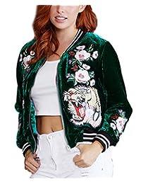MFrannie Womens Flower Tiger Embroidery Velvet Zip-Up Bomber Jacket