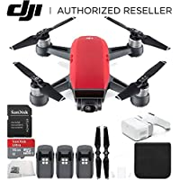 DJI Spark Portable Mini Drone Quadcopter + DJI Goggles Virtual Reality VR FPV POV Experience Ultimate Bundle (Lava Red)