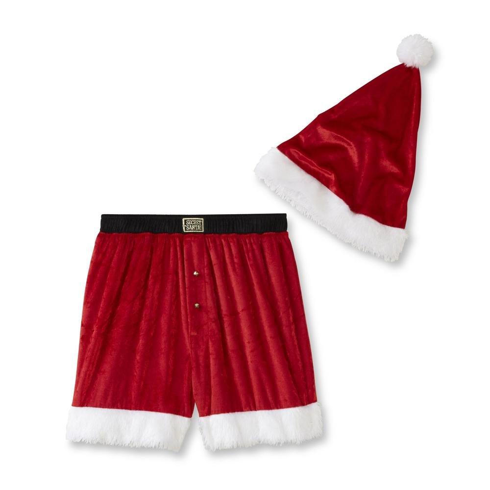 Secret Santa Mens Christmas Santa Jam Pajama Short and Hat Set