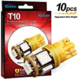 Yorkim 194 LED Bulbs Amber 6000k Ultra Bright 7th Generation Universal Fit T10 LED Bulbs Amber, 168 LED Bulb Amber, 2825 LED Bulb, W5W LED Bulb, 194 Yellow LED Interior Light for Car, Pack of 10