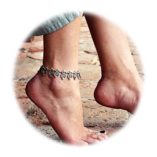 Gudukt Bohomian Anklet Silver Beads Tassel Foot Chain Beach Ankle Bracelet Jewelry for women (Turkish Silver Bead)