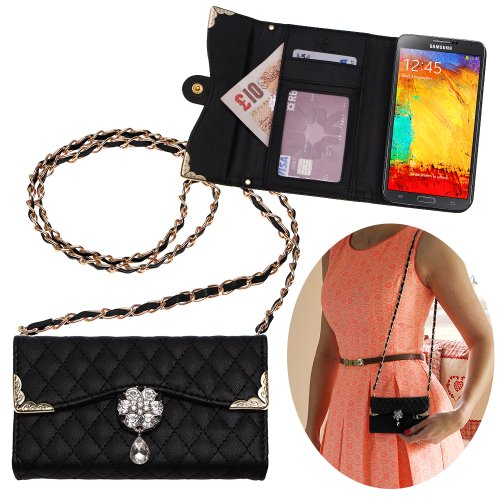 Checkered Folder (Xtra-Funky Exclusive Luxury Faux Leather Quilted Handbag Purse Style Case with Carry strap and Beautifully Decorated Crystal Flower For Samsung Galaxy Note 4 - Black (Includes a Mini Stylus and LCD Screen Protector Film))