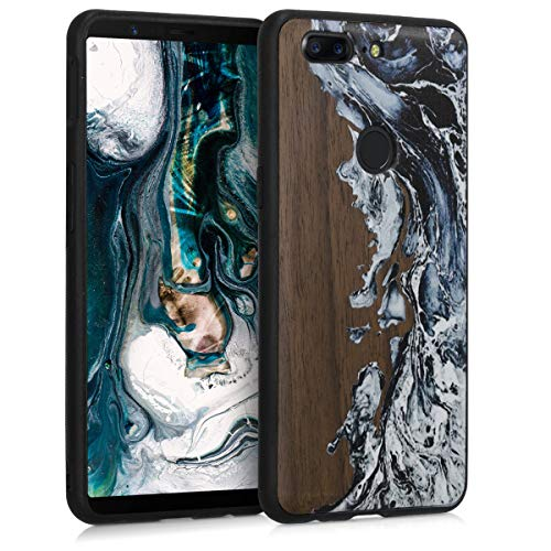 kwmobile Wooden Case for OnePlus 5T - Hard Case with TPU Bumper - Watercolor Waves, White/Black/Brown, Walnut