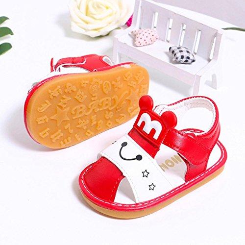 Jamicy® Baby Sandalen, Kinder Jungen Mädchen Cartoon Closed Toe Anti-Rutsch-Casual Squeaky Sandalen Schuhe Rot