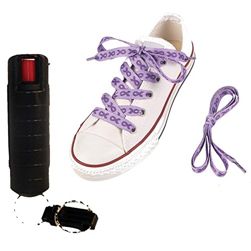 Pepper Shot Support and Defend: Purple Ribbon Cotton Shoelaces and a 10% Pepper Spray - Lot of 2 as Shown