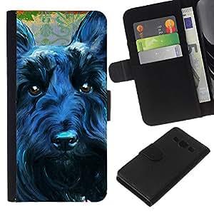 EJOY---La carpeta del tirón la caja de cuero de alta calidad de la PU Caso protector / Samsung Galaxy A3 / --Terrier Negro escocés perro canino Mascota