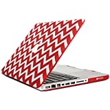 """TopCase Chevron Series Red Ultra Slim Light Weight Rubberized Hard Case Cover for Macbook Pro 13-inch 13"""" (A1278/with or without Thunderbolt) - Not for Retina Display - with TopCase Chevron Mouse Pad"""