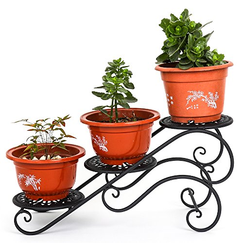 Flower Pot Holder Display Rack Stand / Metal Potted Planter / Decorative Planter Stand with 3 holders Potted Plant Rack Organizer (Black)