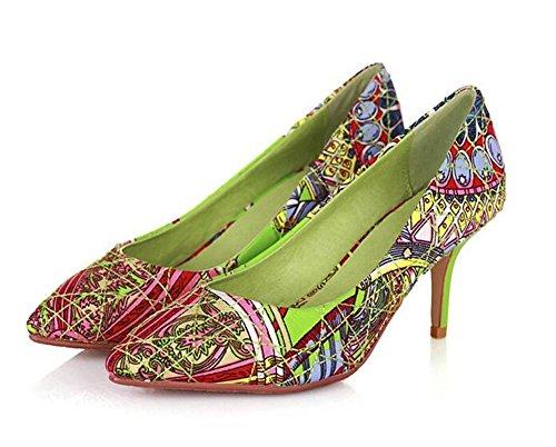 StyleParty Pie Mujeres dedo Puntiagudo Elegantes Las Impresas Del Para Bombas Estilete Sandalias Green Bohemian wfRxU4q