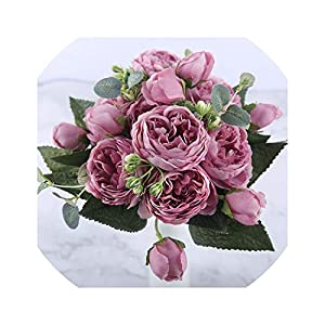 30cm Rose Pink Silk Peony Artificial Flowers Bouquet 5 Big Head and 4 Bud Fake Flowers for Home Wedding Decoration Indoor,Purple 71