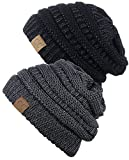 CC Chunky Soft Stretch Cable Knit Womens Beanie 2-Pack Black Gray