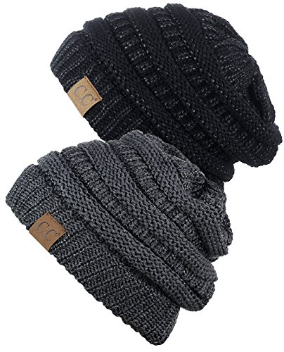 CC Chunky Soft Stretch Cable Knit Womens Beanie 2-Pack Black Gray Deal (Large Image)
