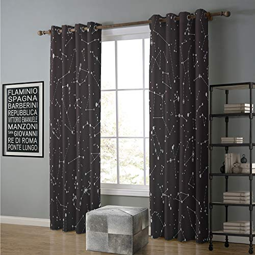 Jinguizi Blackout Curtain Patio Door 84 by 108 Inch Art Nouveau,Witch Crystal Ball Magic Fortune Themed Tattoo Inspired Mystic Pattern,Charcoal Grey White