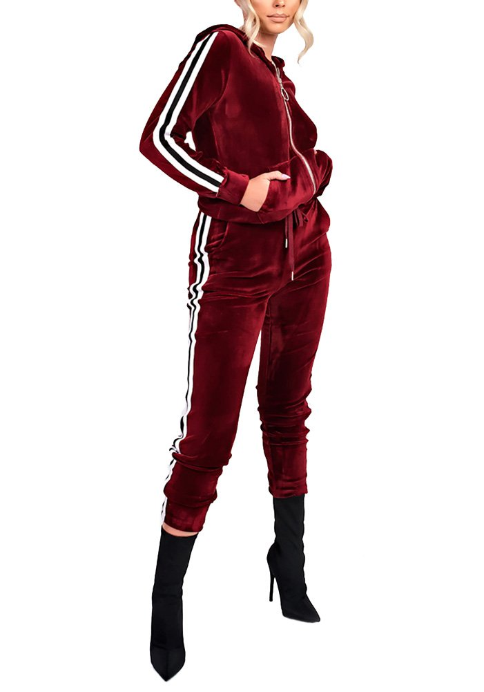 Vamvie Women's Hoodie Zip Up Jogging Long Sleeve+Long Pants Velour Striped Tracksuit Set with Pocket (Small, Wine Red)