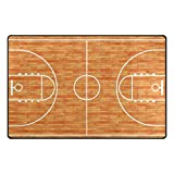 WOZO Sport Lover Basketball Court Parquet Area Rug Rugs Non-Slip Floor Mat Doormats for Living Room Bedroom 31 x 20 inches