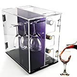 Deluxe Wine Storage Rack, Clear Acrylic Wine Cabinets With Glass Holder Countertop, Wine Rack Organizer With 3 Bottle Holder and 3 Glass Rack,Dustproof,Rotating Base (DYC-WDB001)
