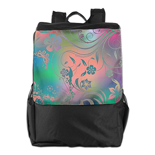 HSVCUY Personalized Outdoors Backpack,Travel/Camping/School-Glitter Flowers Adjustable Shoulder Strap Storage Dayback For Women And Men
