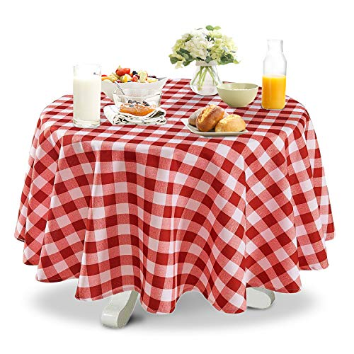 YEMYHOM Modern Printed Spill Proof Cloth Round Tablecloths (60'' Round, Red and White) by YEMYHOM