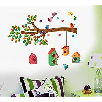 Bird House on a Branch Wall Sticker