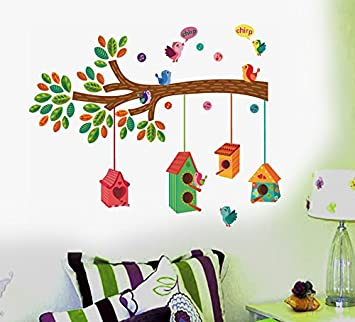 Buy Decals Design Bird House on a Branch Wall Sticker PVC