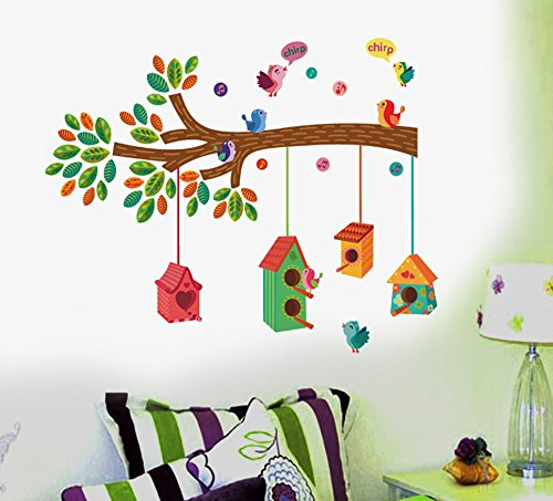 Decals Design ' Bird House on a Branch' Wall Sticker (PVC Vinyl, 50 cm x 70 cm)