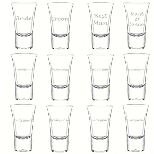 Etched Glass Wedding Party Shot Glasses (1 dz), 1.75oz LORD Style Shooter Shot Glass, Custom Laser Engraved Groomsman and Bridesmaid Favor Gift