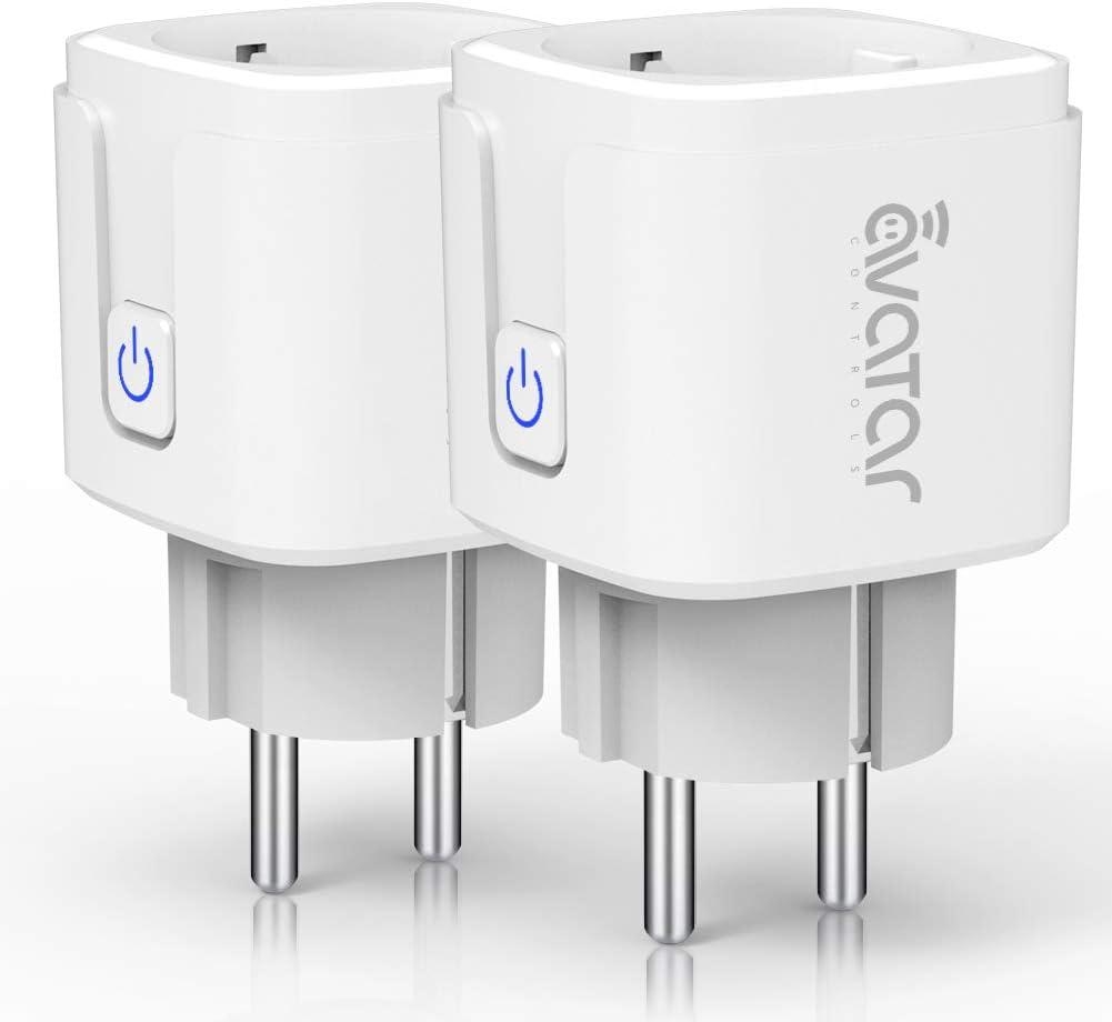 Enchufe Inteligente Wifi, Enchufe Conéctese Alexa/Google Home, Smart Plug 16A, Comando de Voz, Programa de Tiempo, Ahorro de Energía por Avatar Controls (2 PACK)