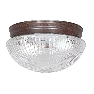 Sunset Lighting F8108-62 Flush Mount with Clear Prismatic Glass, Rubbed Bronze Finish