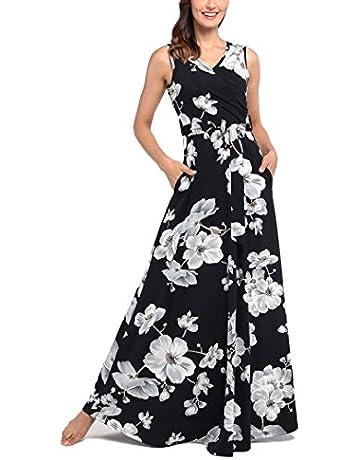fef25e2d651 Comila Women s Summer V Neck Floral Maxi Dress Casual Long Dresses with  Pockets