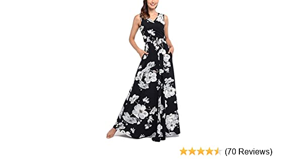 0ee483f4e3f Comila Women s Summer V Neck Floral Maxi Dress Casual Long Dresses with  Pockets at Amazon Women s Clothing store