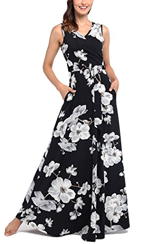 Comila Maxi Dress with Pockets, Women Elegant Floral Printed Sexy Warp V Neck Sleeveless Loose Long Dress Fashion Summer Tropical Vacations Slimming Casual Maxi Dresses with Pockets Black XL(US16-18) by Comila